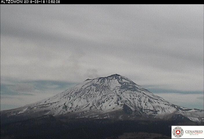 Imagen del Popocatépetl desde la estación Altzomoni. El CENAPRED realiza el monitoreo del volcán en forma continua, las 24 horas; cualquier cambio en su actividad es reportado oportunamente.