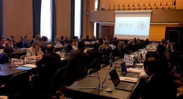 Fotografía de la sesión de la Plataforma Global para la Reducción de Desastres en Ginebra durante el anuncio de #MexicoGP2017