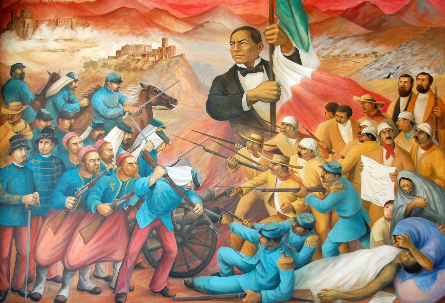 Imagen de detalle del mural de José Clemente Orozco, Juárez, el clero y los imperialistas.