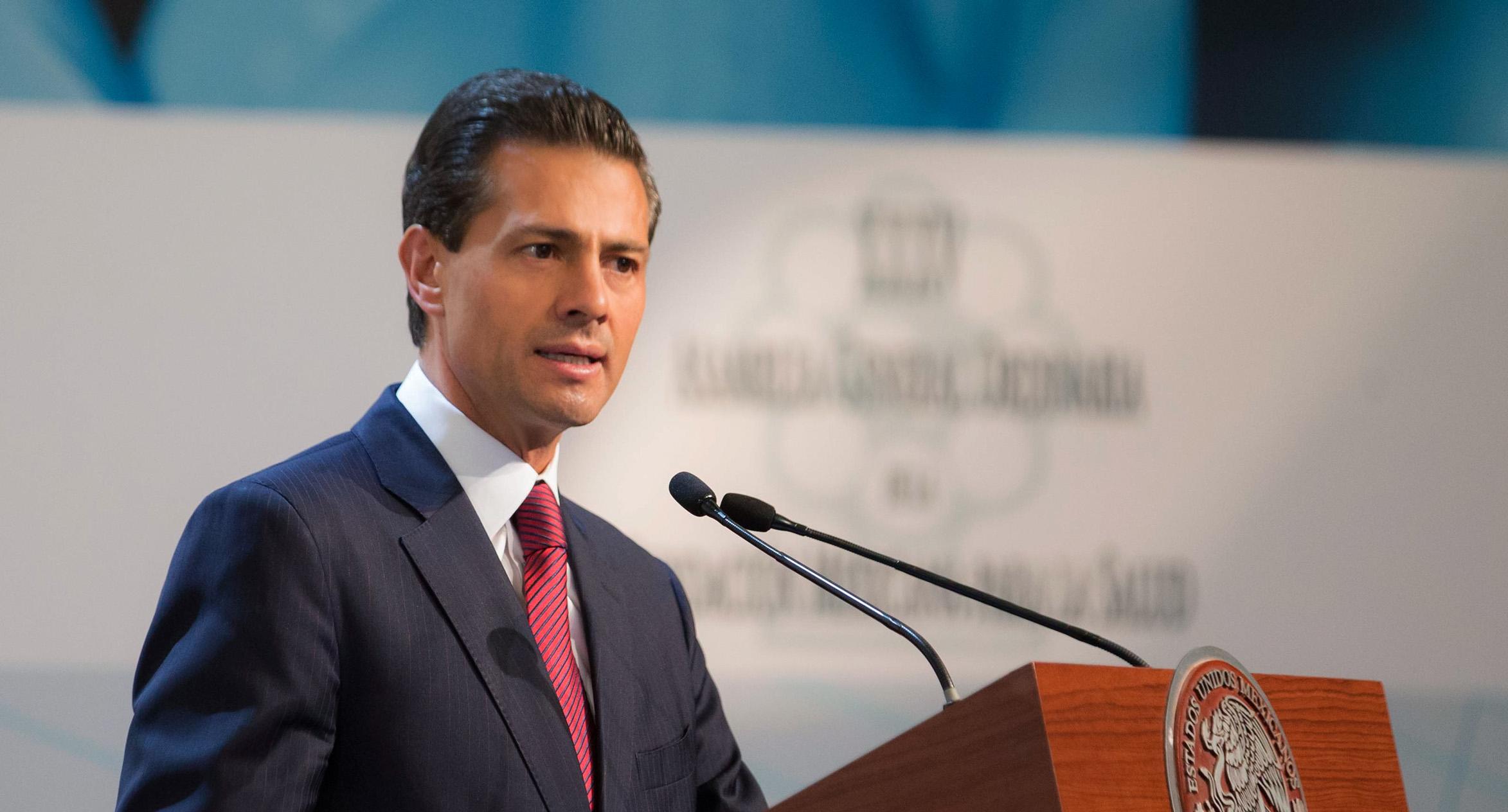 El Primer Mandatario durante su discurso en la 35 Asamblea General Ordinaria de la Fundación Mexicana para la Salud.