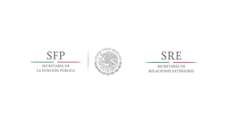Logo de la Secretaría de la Función Pública y Logo de la Secretaría de Relaciones Exteriores por Comunicado Conjunto