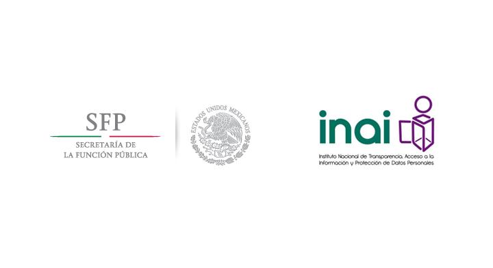 Logo de la Secretaría de la Función Pública y Logo del Instituto Nacional de Transparencia, Acceso a la Información y Protección de Datos Personales