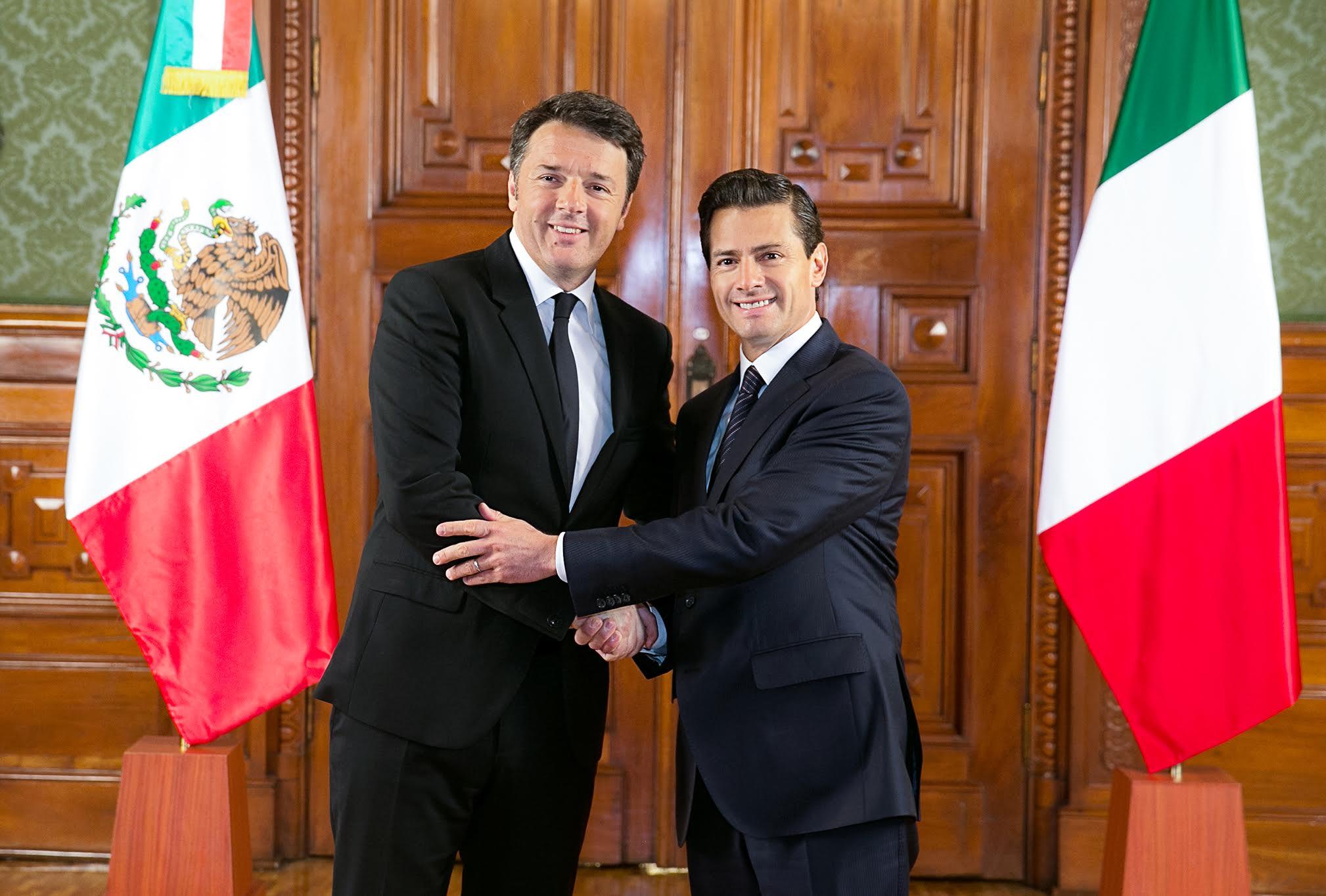 El Presidente Enrique Peña Nieto recibe en Palacio Nacional al Ministro de Italia, Matteo Renzi.