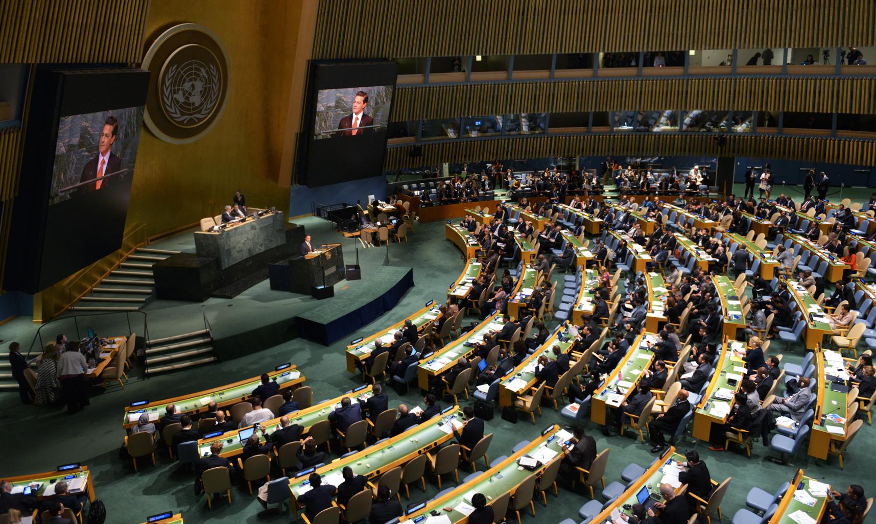 El Mandatario mexicano habla ante la Asamblea de las Naciones Unidas sobre el tema de las drogas, en la ciudad de Nueva York.