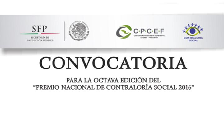 """Logo de la Secretaría de la Función Pública, Logo de Contraloría social y el texto que dice: Convocatoria para la octava edición del """"Premio Nacional de Contraloría Social 2016"""""""