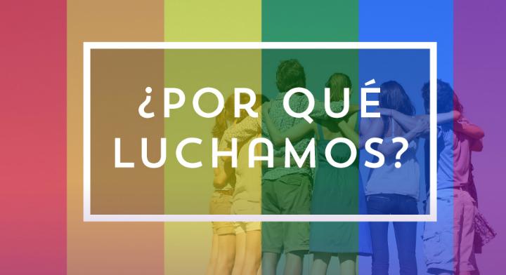 Imagen con los colores de la bandera del movimiento LGBT y la frase ¿Por qué luchamos?