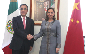 La Canciller Ruiz Massieu con el Secretario del Comité del Partido Comunista de Guangdong, Sr. Hu Chunhua