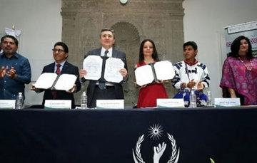CNDH, CDI e INALI signan convenio de colaboración.