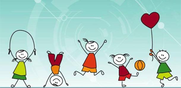 Dibujos de niñas y niños jugando