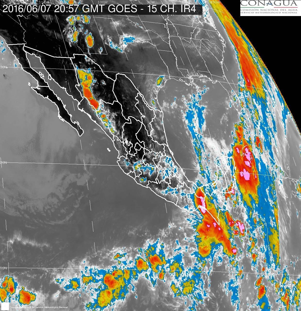 Imagen de satélite del seguimiento a la depresión tropical 1-E