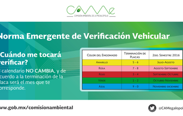 Calendario de Verificación Vehicular