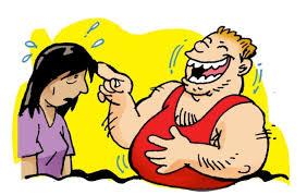 Caricatura que muestra a un hombre burlándose de una mujer.
