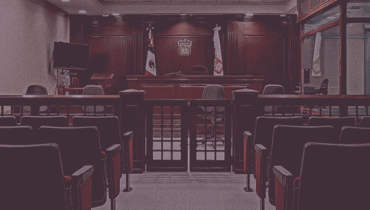 Fotografía de una sala de juicio oral.