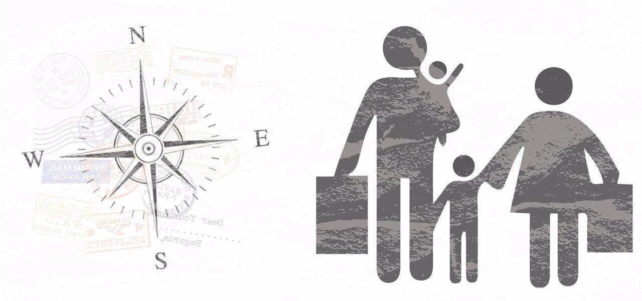 Imagen gráfica de una familia y una brújula representando un grupo de personas refugiadas