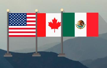 Banderas de Estados Unidos, Canadá y México