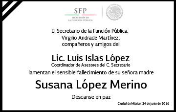 Esquela Sra. Susana López Merino