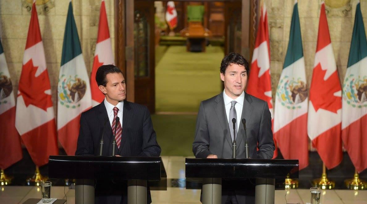 El Presidente de México, Enrique Peña Nieto y el Primer Ministro de Canadá, Justin Trudeau