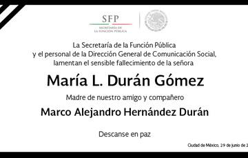 Esquela Señora María L. Durán Gómez