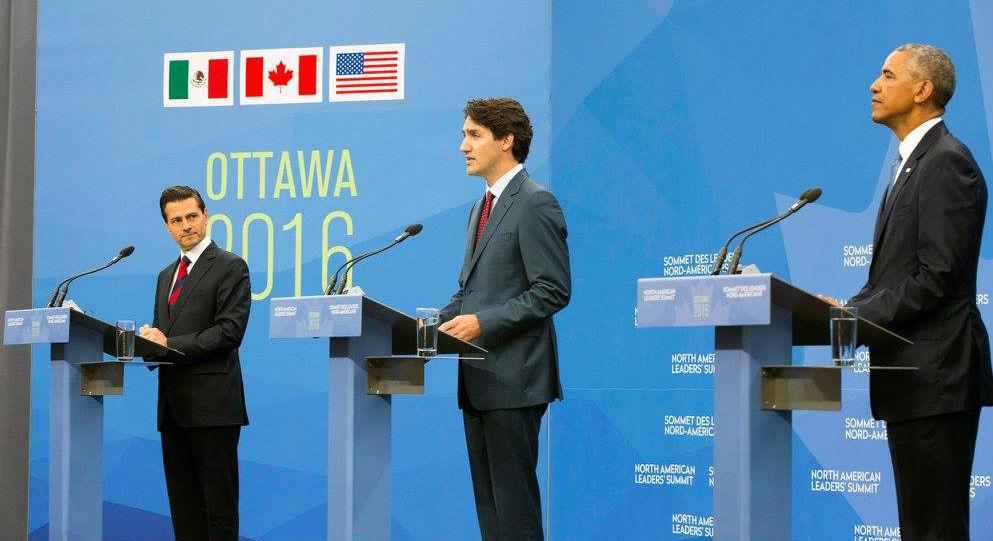 El Presidente Enrique Peña Nieto, el Primer Ministro Justin Trudeau y el Presidente Barack Obama