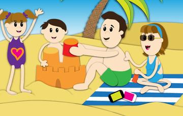 Ilustración de una familia vacacionando en la playa.