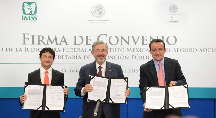 Firma del Convenio de Colaboración entre representantes de  la SFP, el Consejo de la Judicatura Federal y el Instituto Mexicano del Seguro Social.