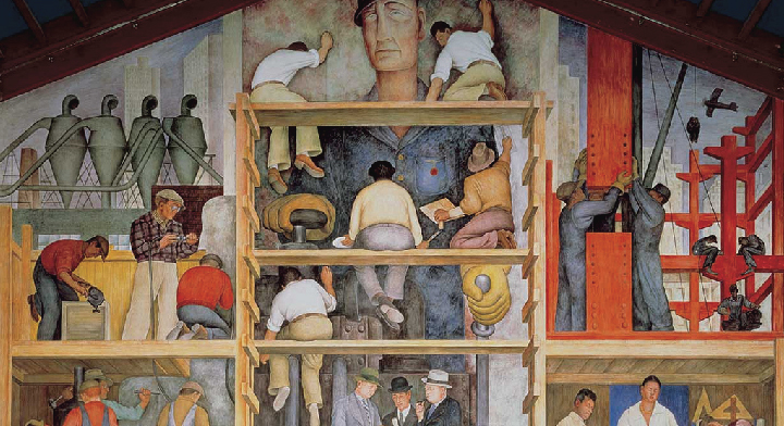 """The making of a fresco"", pintura de Diego Rivera."