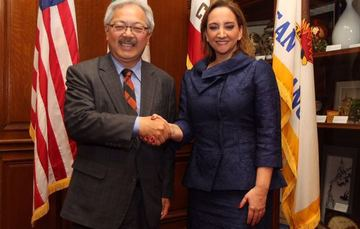 Foreign Secretary Ruiz Massieu with Mayor Ed Lee in San Francisco