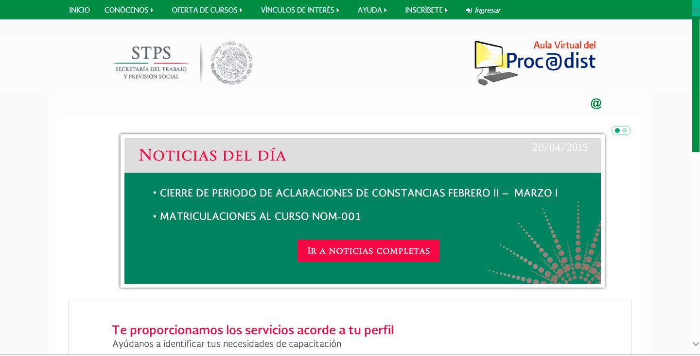 Pantalla de acceso al PROCADIST