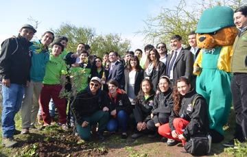 Jóvenes voluntarios de la Alianza del Pacífico posan en un parque en Chile.