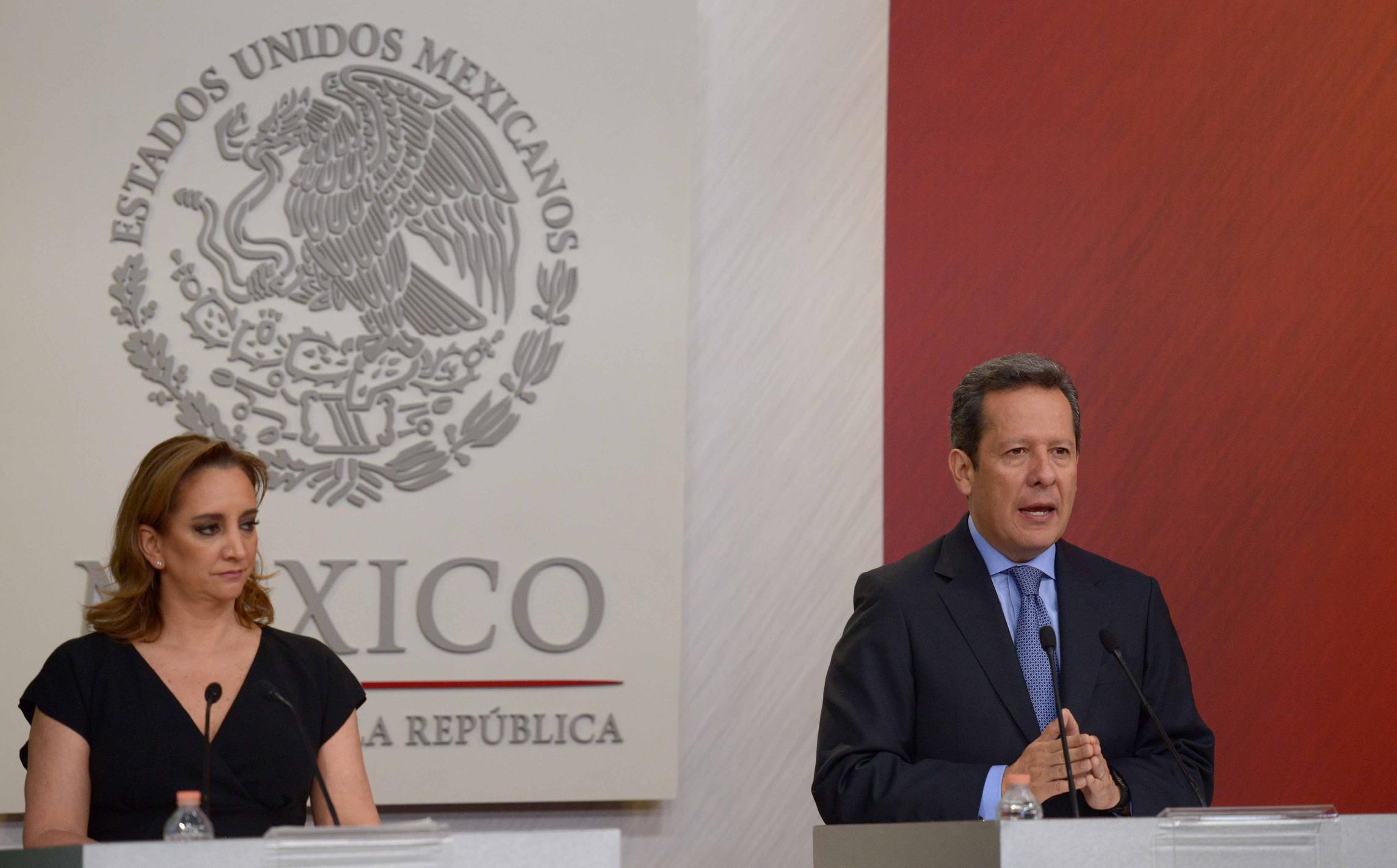 En conferencia de Prensa conjunta la Secretaria de Relaciones Exteriores, Claudia Ruiz Massieu y el Coordinador General de Comunicación Social de la Presidencia y Vocero del Gobierno de la República, Eduardo Sánchez Hernández.