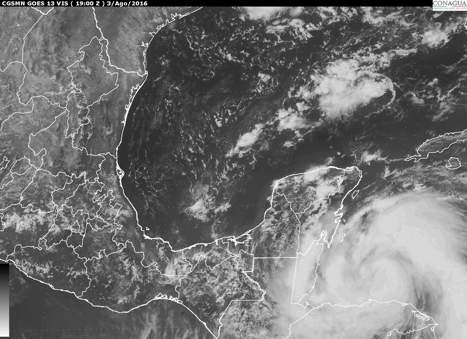 Imagen de satélite de la Península de Yucatán y el Golfo de México