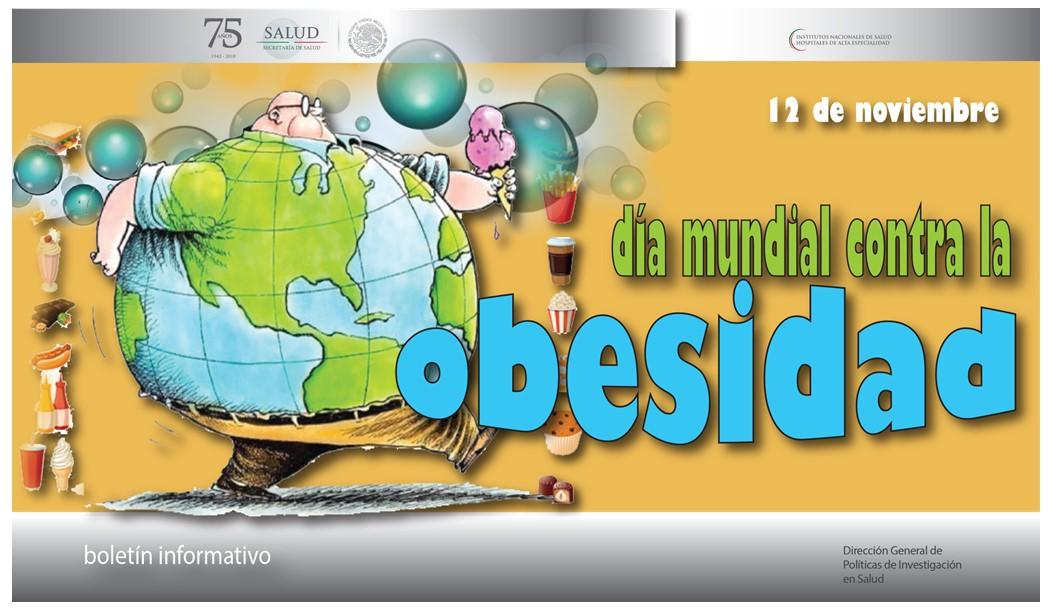 La portada del Boletín informativo para investigadores de la CCINSHAE, correspondiere al viernes  12 de noviembre  alusiva a el día mundial contra la obesidad.