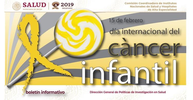 La portada del Boletín informativo para investigadores de la CCINSHAE, correspondiere al lunes 11  de febrero día internacional del cáncer infantil.
