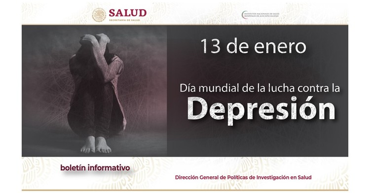 La portada del Boletín informativo para investigadores de la CCINSHAE, correspondiere al lunes 14 de Enero la cual presenta día mundial de la lucha contra la Depresión.