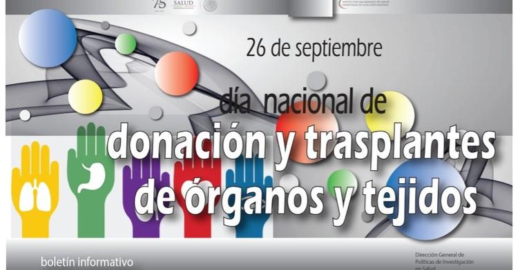 La portada del Boletín informativo para investigadores de la CCINSHAE correspondiere al lunes 24 de septiembre del 2018 se dedica al  Día Mundial de donación de trasplantes y órganos y tejidos