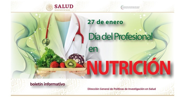 La portada del Boletín informativo para investigadores de la CCINSHAE, correspondiere al lunes 21 de Enero la cual presenta día del Profesional en Nutrición.