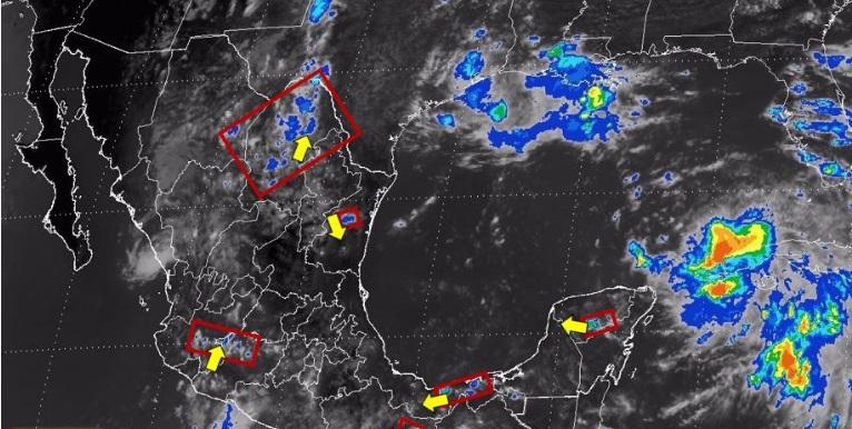 Imagen de Topes de Nubes de las  14:15 horas. Disponible en el Pronóstico a Muy Corto Plazo de la Comisión Nacional del Agua.