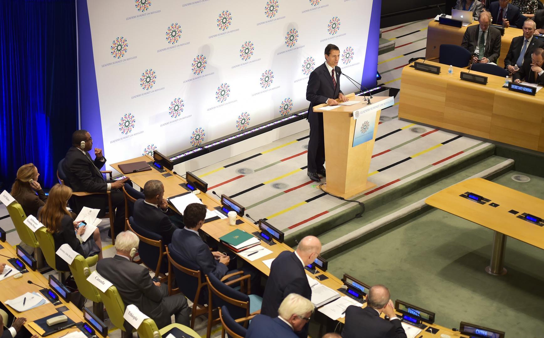 El Mandatario mexicano copresidió la Cumbre de Líderes sobre Refugiados, junto con el Presidente de los Estados Unidos, Barack Obama, y el Secretario General de la ONU, Ban Ki-moon.