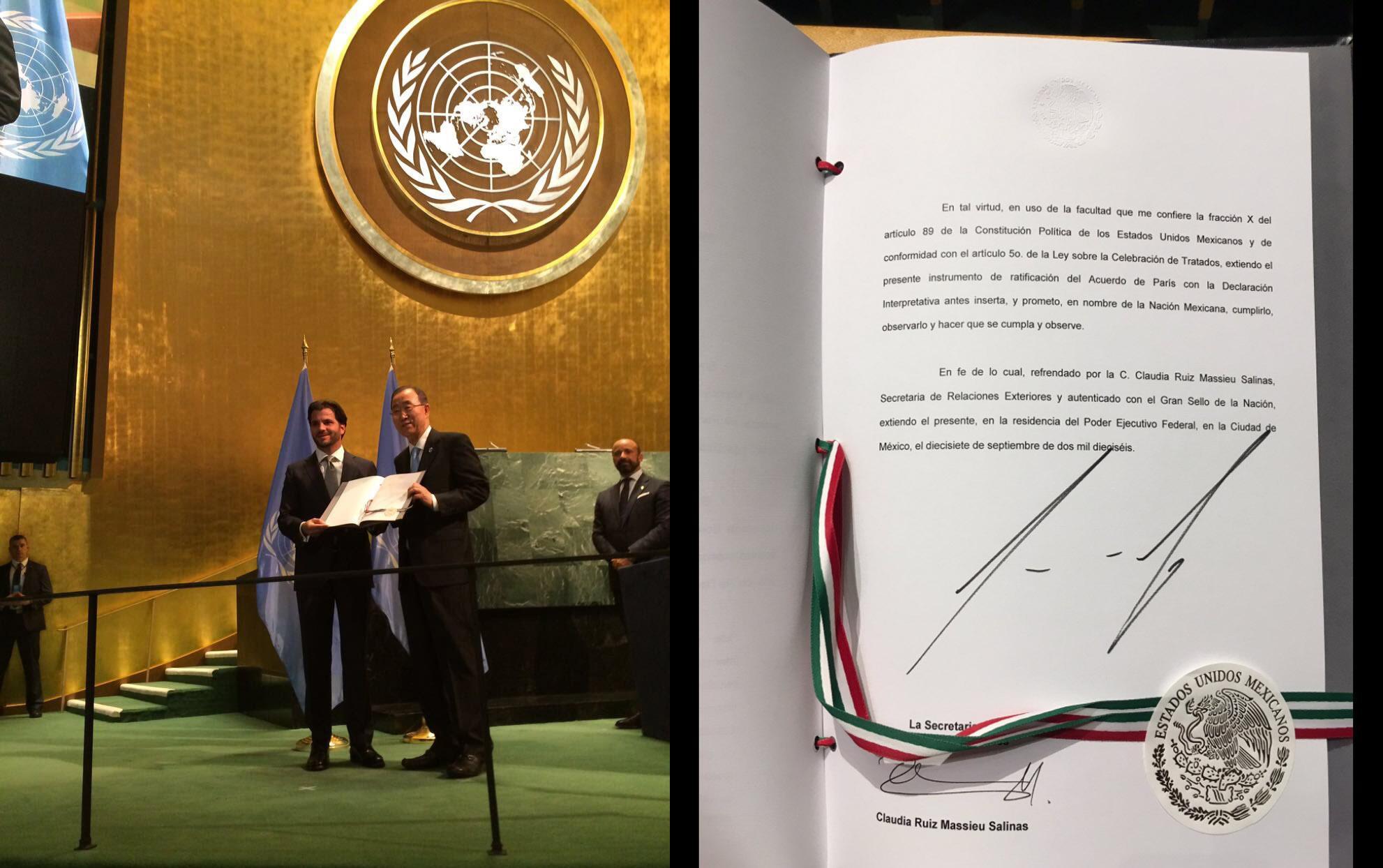 Elsecretario de Medio Ambiente y Recursos Naturales, Rafael Pacchiano Alamán,entregó al Secretario General de laONU, Ban Ki-moon, la ratificación de elAcuerdo de París sobre Cambio Climático.