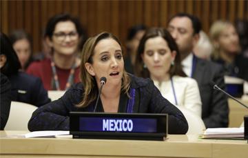 Canciller Claudia Ruiz Massieu participando en la Asamblea General de la ONU
