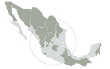 Mapa de México con estados donde arranca la fase 1 de implementación del 911