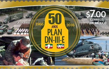 """Timbre postal conmemorativo a los """"50 Años de la aplicación del Plan DN-III-E""""."""