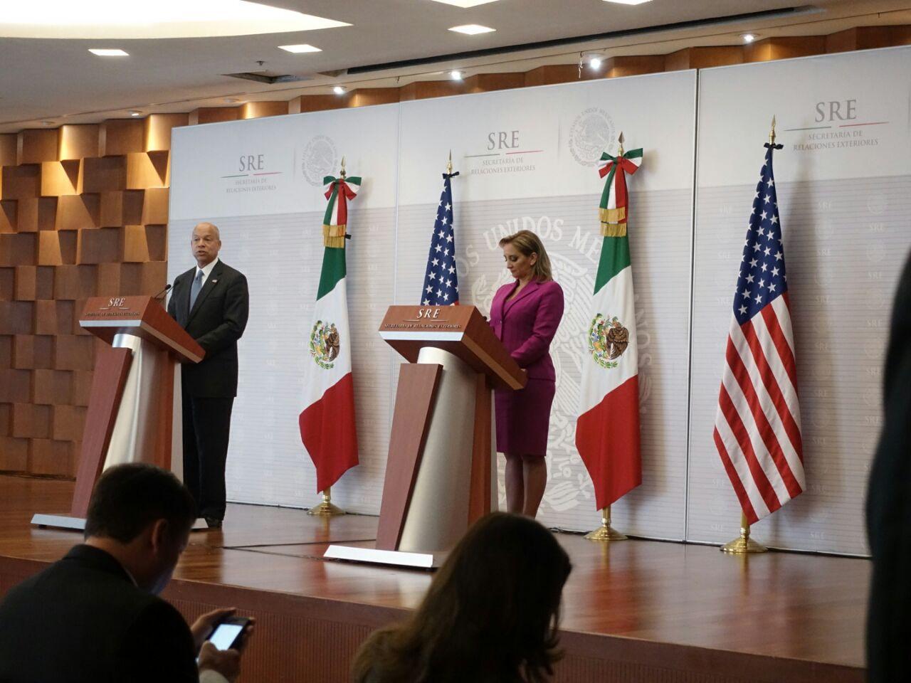 Mensaje a medios de la Canciller Ruiz Massieu y Jeh Johnson, Secretario de Seguridad Interna de EUA.
