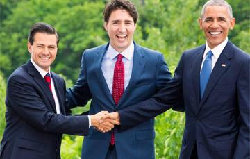 Enrique Peña, Justin Trudeau y Barack Obama