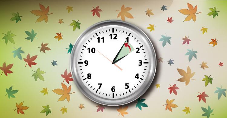 La imagen nos muestra un reloj con las manecillas que nos indican que hay que atrasar el reloj una hora.