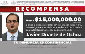 Ofrece la PGR 15 millones de pesos por información que conduzca a la detención de Javier Duarte de Ochoa.