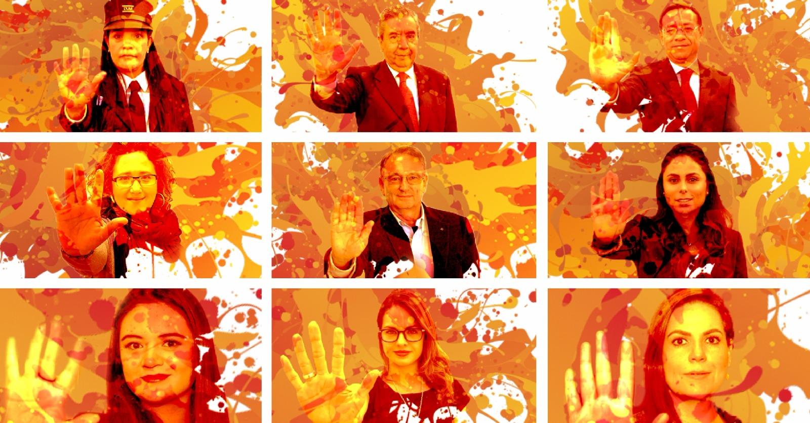 Hombres y mujeres haciendo con la mano la señal de Alto