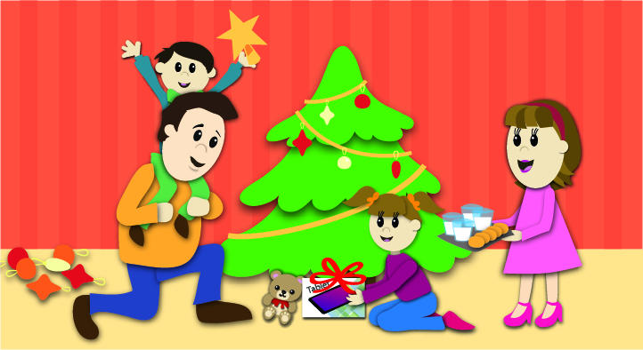 Ilustración de una familia poniendo su árbol de Navidad.