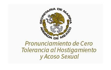 Escudo de la Secretaria de Marina, con el tema pronunciamiento de cero tolerancia