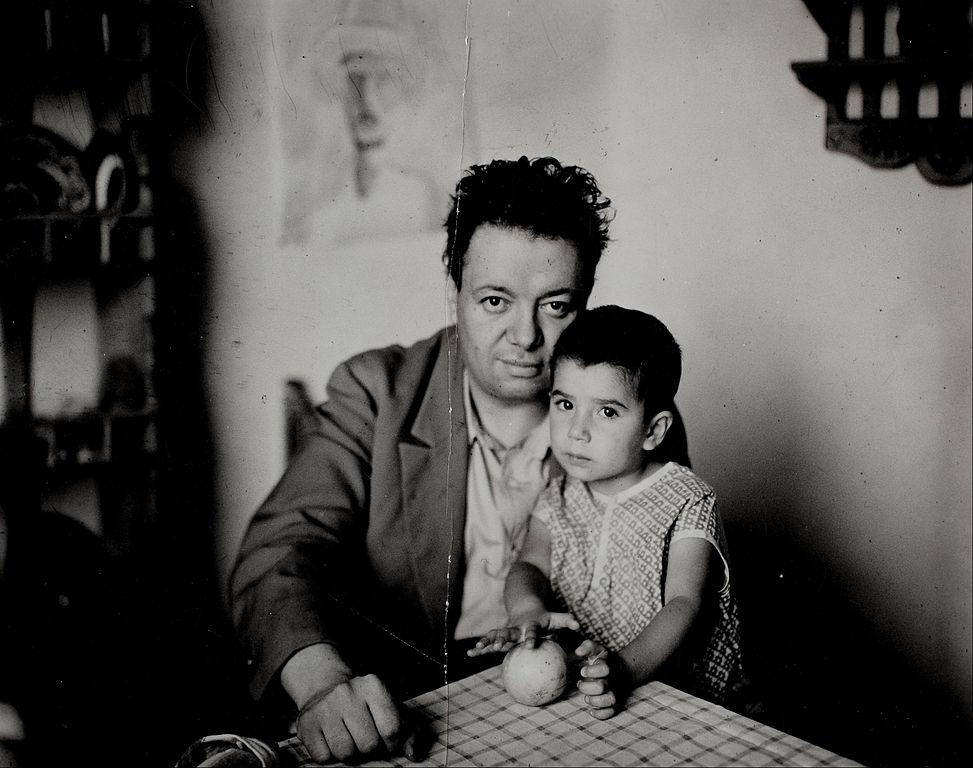 Foto de Diego Rivera con su hija, Guadalupe Rivera Marín